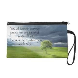 Peaceful Tree Blue Sky Bible Verse Wristlet Clutches
