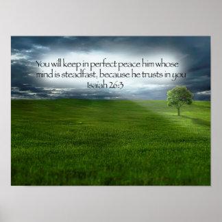 Peaceful Tree Field Blue Sky Bible Verse Poster
