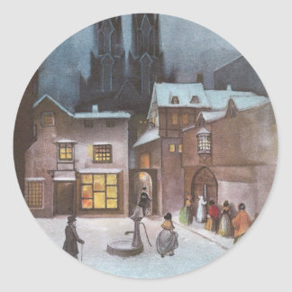 Peaceful Village at Night Vintage Christmas Classic Round Sticker