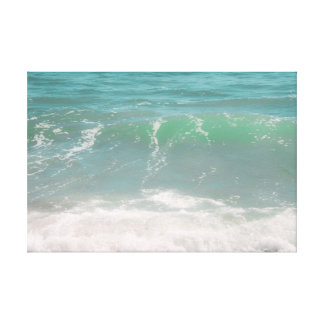 Peaceful Waves Blue Green Sea Beach Photography Stretched Canvas Print
