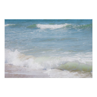 Peaceful Waves Blue Sea Beach Photography Poster