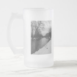 Peaceful Winter At James River Grayscale Frosted Glass Beer Mug