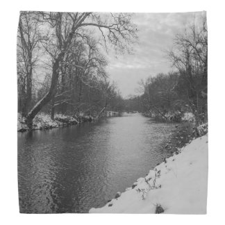 Peaceful Winter At James River Grayscale Head Kerchiefs