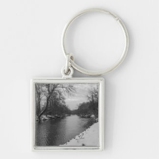 Peaceful Winter At James River Grayscale Silver-Colored Square Keychain