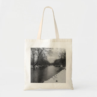 Peaceful Winter At James River Grayscale Tote Bag