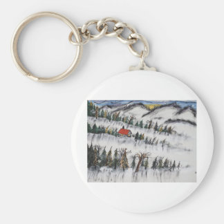 Peaceful Winter Daybreak Basic Round Button Keychain