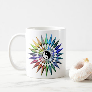 Peaceful Yin Yang Zen Yoga Colorful Meditation Tao Coffee Mug