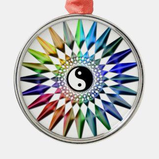 Peaceful Yin Yang Zen Yoga Colorful Meditation Tao Metal Ornament
