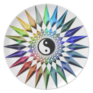 Peaceful Yin Yang Zen Yoga Colorful Meditation Tao Plate