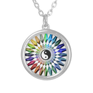 Peaceful Yin Yang Zen Yoga Colorful Meditation Tao Silver Plated Necklace