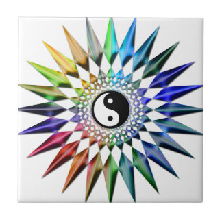 Peaceful Yin Yang Zen Yoga Colorful Meditation Tao Tile