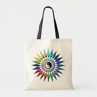 Peaceful Yin Yang Zen Yoga Colorful Meditation Tao Tote Bag