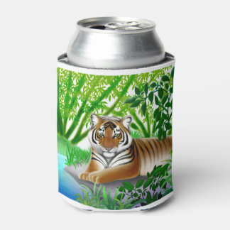 Peaceful Young Tiger in Jungle Can Cooler