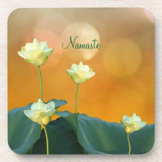 Peaceful Zen White Lotus Flowers Namaste Yoga Coaster