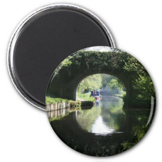 Peacefulness Blue Boat Llangollen Canal 2 Inch Round Magnet