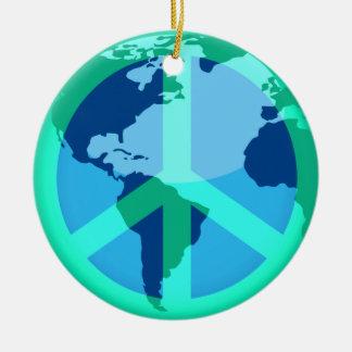PeaceOnEarth Round Ceramic Ornament