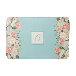 Peach and Aqua Watercolor Floral with Monogram Bath Mat