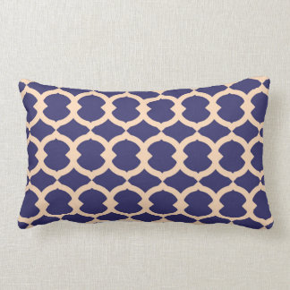 Peach and Blue Abstract Chain Pattern Pillow