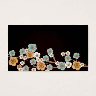Peach and blue sakura Business Card