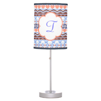 peach and blue striped aztec pattern monogram table lamp