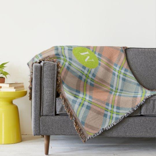 peach and blue tartan plaid monogram throw blanket