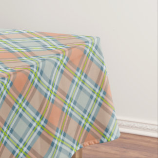 peach and blue with lime plaid tablecloth