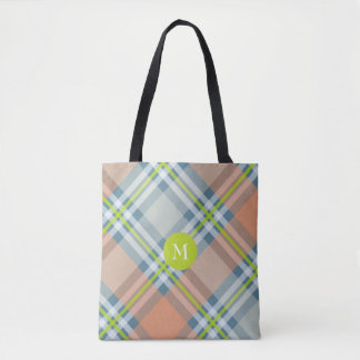peach and blue with lime plaid tote bag