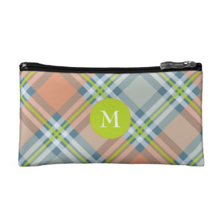 peach and blue with lime tartan plaid makeup bag