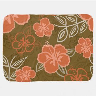 Peach and Brown Hawaiian Hibiscus Pattern Baby Blanket