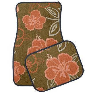 Peach and Brown Hawaiian Hibiscus Pattern Car Mat