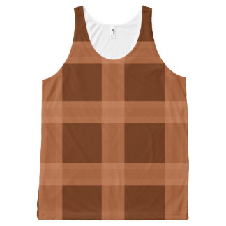 Peach And Brown Plaid Pattern Tank Top