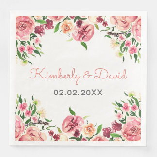 Peach and Coral Flowers Floral Wedding Disposable Napkins