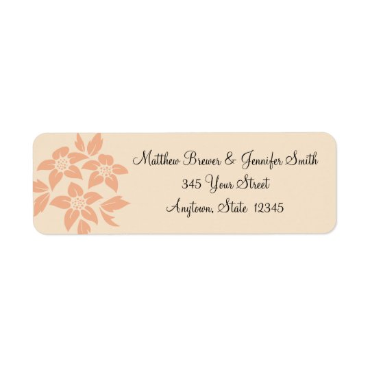 Peach and Cream Damask Envelope Address Labels