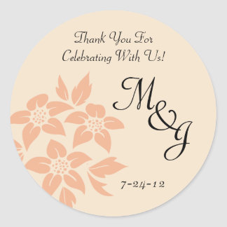 Peach and Cream Damask Wedding Favor Labels
