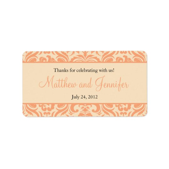 Peach and Cream Damask Wedding Favour Labels