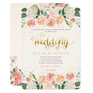 Peach and Cream Floral Summer Wedding Invitation