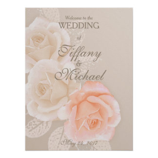 Peach and Cream Roses Wedding Greeting Poster