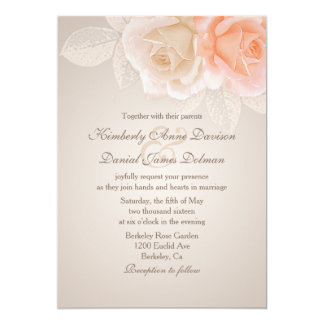Peach and Cream Roses Wedding Invitation 2