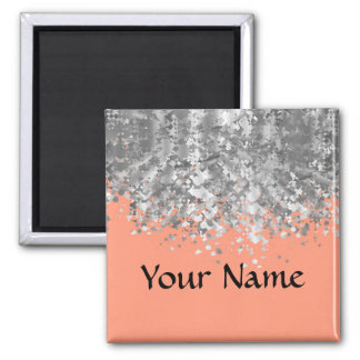 Peach and faux glitter personalized square magnet