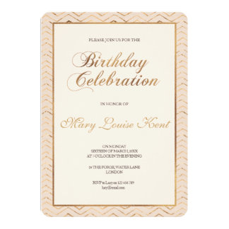 Peach and Gold Birthday Party Invitation