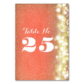 peach and gold glitter table number cards