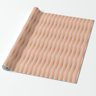 Peach and Gold Stripes Wrapping Paper