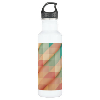Peach and Green Abstract Geometric 710 Ml Water Bottle