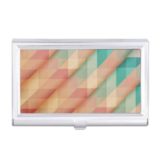 Peach and Green Abstract Geometric Business Card Holder