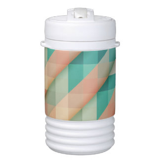 Peach and Green Abstract Geometric Cooler