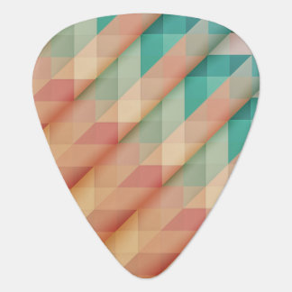 Peach and Green Abstract Geometric Guitar Pick