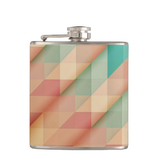 Peach and Green Abstract Geometric Hip Flask