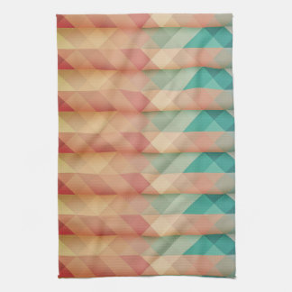 Peach and Green Abstract Geometric Kitchen Towel