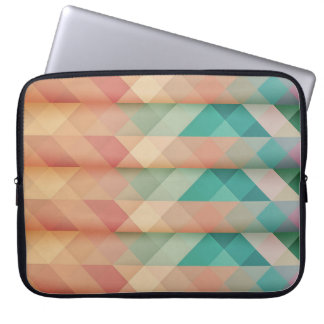 Peach and Green Abstract Geometric Laptop Sleeve