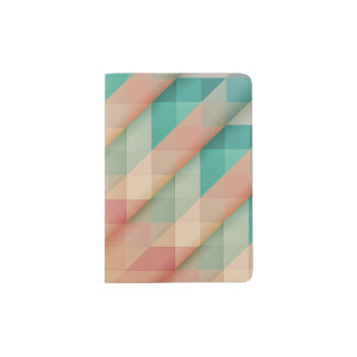 Peach and Green Abstract Geometric Passport Holder